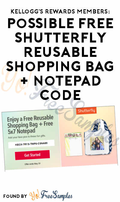 Kellogg's Rewards Members: Possible FREE Shutterfly Reusable Shopping Bag + Notepad Code