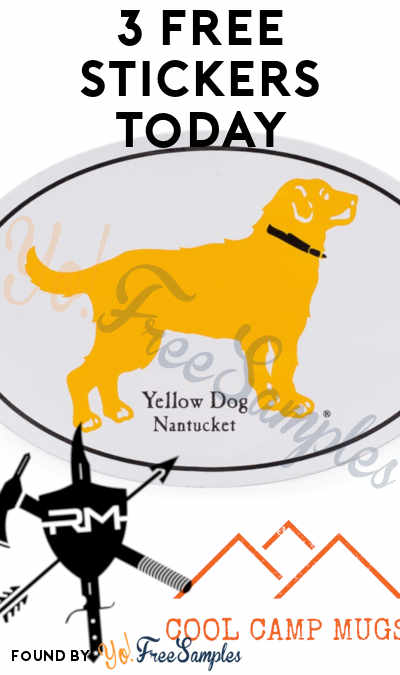 3 FREE Stickers Today: Yellow Dog Nantucket Sticker, ReadyMan Sticker & Cool Camp Mugs Sticker