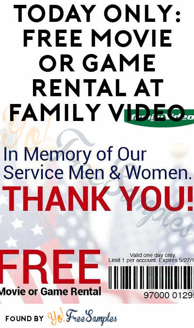 TODAY ONLY: FREE Movie or Game Rental At Family Video