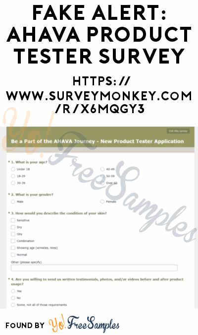 "FAKE ALERT: FREE AHAVA Insider Product Tester Samples Survey ""X6MQGY3"""