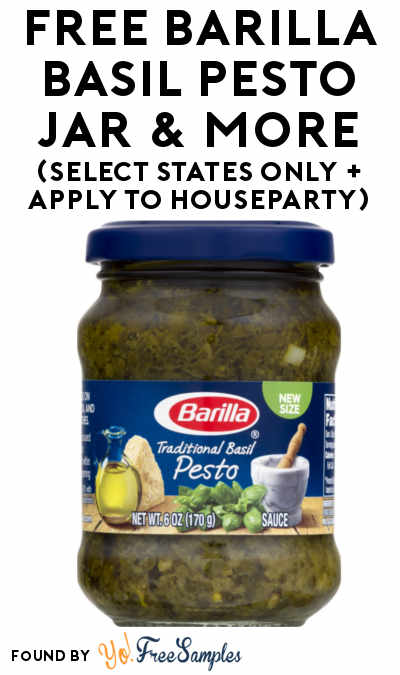 FREE Barilla Basil Pesto Jar & More (Select States Only + Apply To HouseParty)