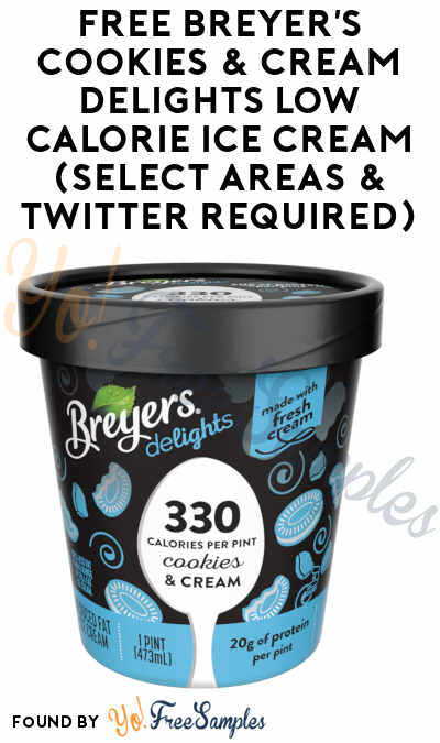 TODAY ONLY: FREE Breyer's Cookies & Cream Delights Low Calorie Ice Cream (Select Areas & Twitter Required)