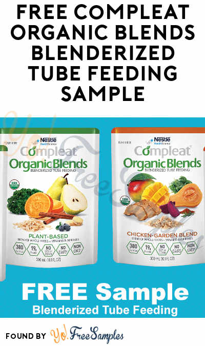 FREE Compleat Organic Blends Blenderized Tube Feeding Sample [Verified Received By Mail]