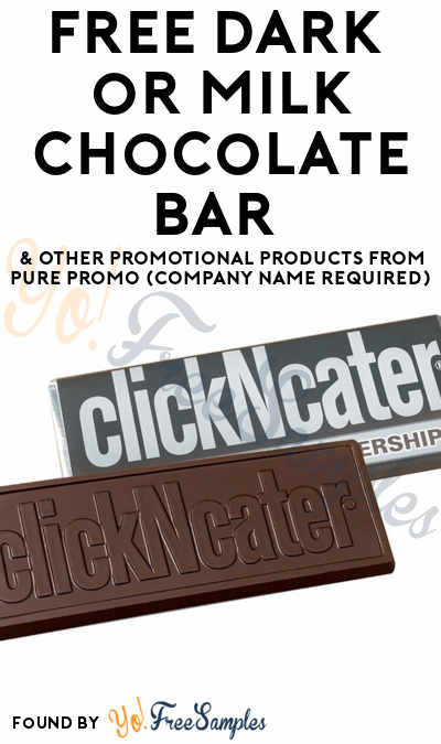 FREE Dark or Milk Chocolate Bar & Other Promotional Products From Pure Promo (Company Name Required)