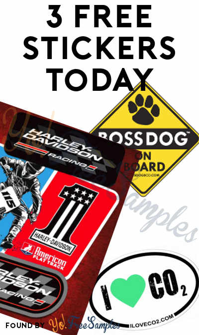 3 FREE Stickers Today: Harley-Davidson Racing Stickers, Boss Dog Sticker & I Love CO2 Sticker