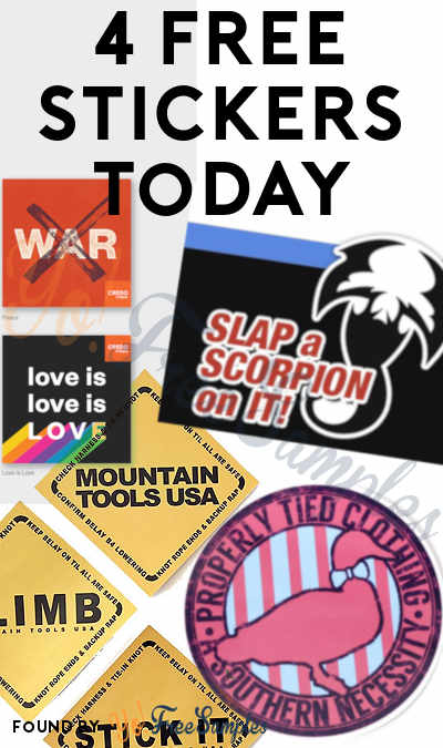4 FREE Stickers Today: Scorpion Sticker, Credo Mobile Cause Stickers, Mountain Tools Sticker Pack & Properly Tied Stickers