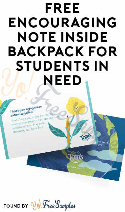 FREE Encouraging Note Inside Backpack For Students In Need