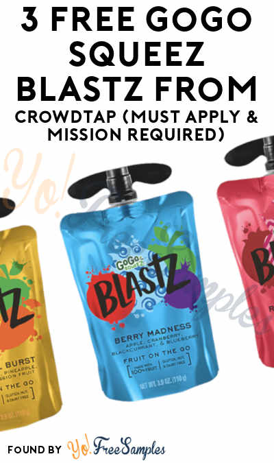 3 FREE GoGo squeeZ BlastZ From CrowdTap (Must Apply & Mission Required)