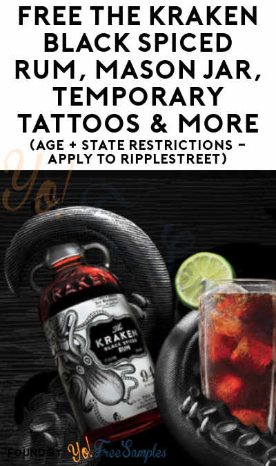 FREE The Kraken Black Spiced Rum, Mason Jar, Temporary Tattoos & More (Age + State Restrictions – Apply To RippleStreet)