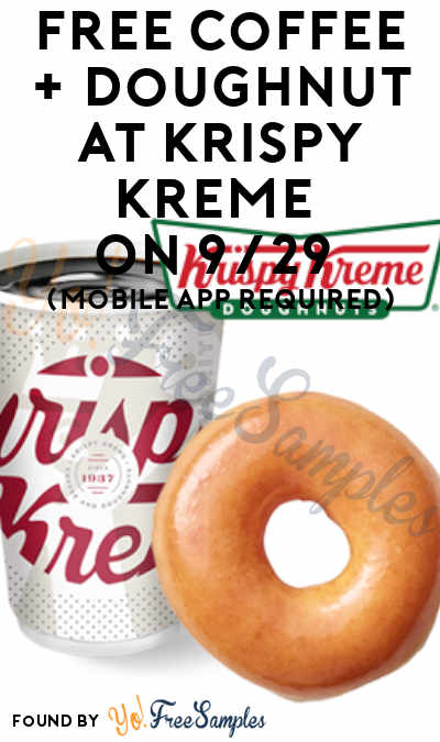 FREE Coffee + Doughnut At Krispy Kreme On 9/29 (Mobile App Required)