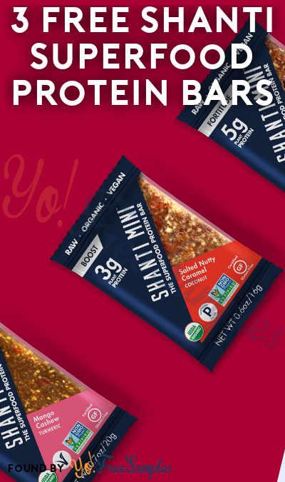 3 FREE Shanti Superfood Protein Bars