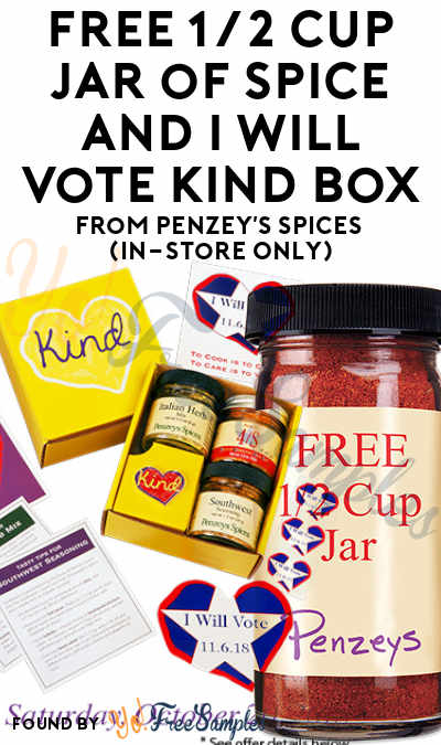 FREE 1/2 Cup Jar of Spice and I Will Vote Kind Box From Penzey's Spices (In-Store Only)