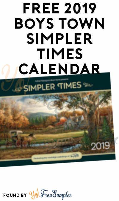 FREE 2019 Boys Town Simpler Times Calendar