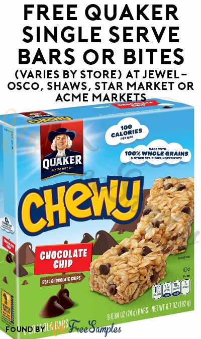 FREE Quaker Single Serve Bars or Bites (Varies By Store) At Jewel-Osco, Shaws, Star Market or Acme Markets