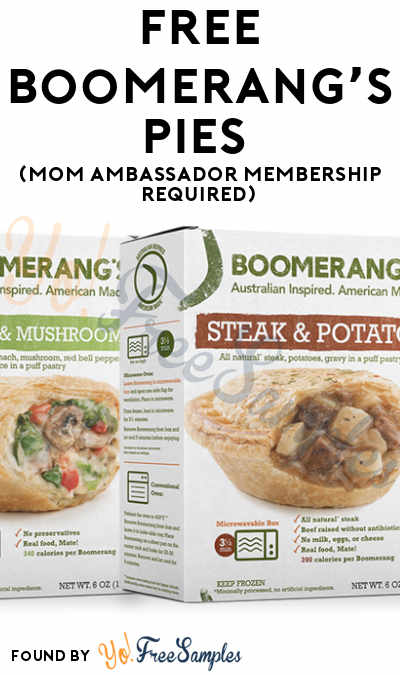 FREE Boomerang's Pies (Mom Ambassador Membership Required)