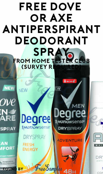 New: FREE Unilever Antiperspirant Deodorant Spray Product From Home Tester Club (Survey Required)