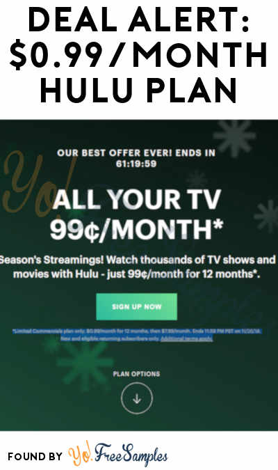 DEAL ALERT: $0.99/Month Hulu Plan For 12-Months