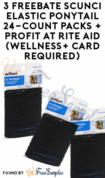 3 FREEBATE Scunci Elastic Ponytail 24-Count Packs + Profit At Rite Aid (Wellness+ Card Required)