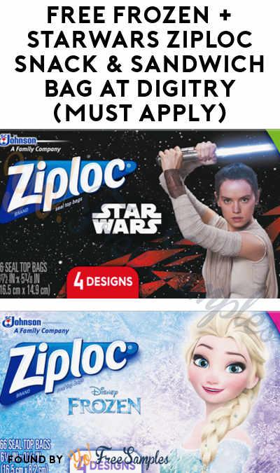 FREE Frozen + Starwars Ziploc Snack & Sandwich Bag At Digitry (Must Apply)