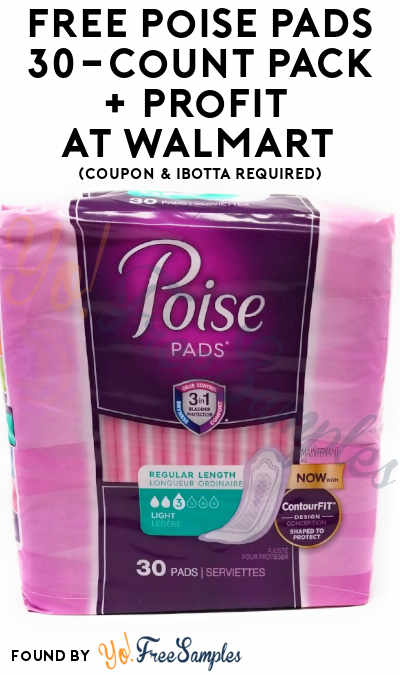 FREE Poise Pads 30-Count Pack + Profit At Walmart (Coupon & Ibotta Required)