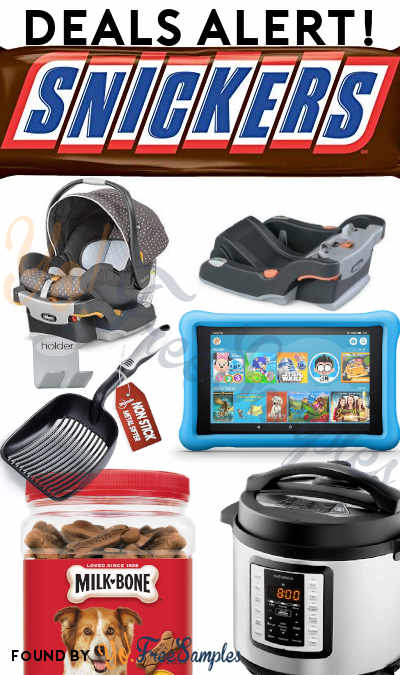 DEALS ALERT: 1-Pound Snickers Bar, Chicco Car Seat + Base, Insignia 6-Qt Pressure Cooker, Fire HD 8 Kids Tablet, Milk-Bone Treats, Cat Litter Scooper & More At Amazon, Walmart, Best Buy + Kohl's