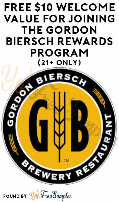 FREE $10 Welcome Value For Joining The Gordon Biersch Rewards Program (21+ Only)