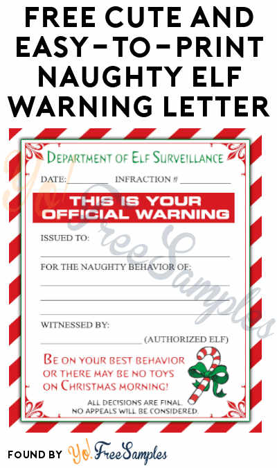 FREE Cute and Easy-to-Print Naughty Elf Warning Letter