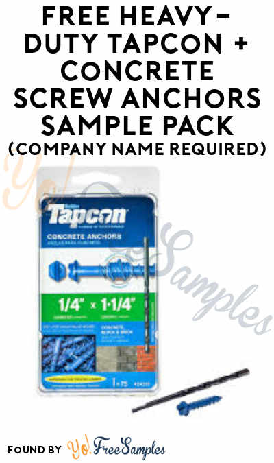 FREE Heavy-Duty Tapcon + Concrete Screw Anchors Sample Pack (Company Name Required)
