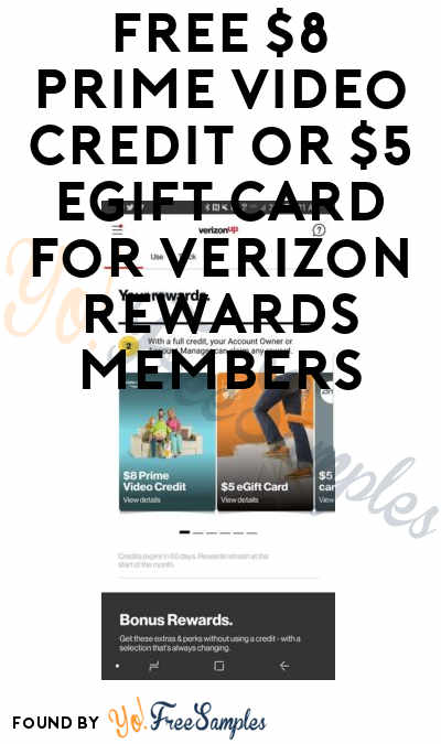 FREE $8 Prime Video Credit or $5 eGift Card For Verizon Rewards Members