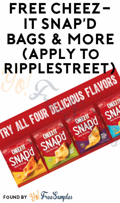 FREE Cheez-It Snap'd Bags & More (Apply To RippleStreet)