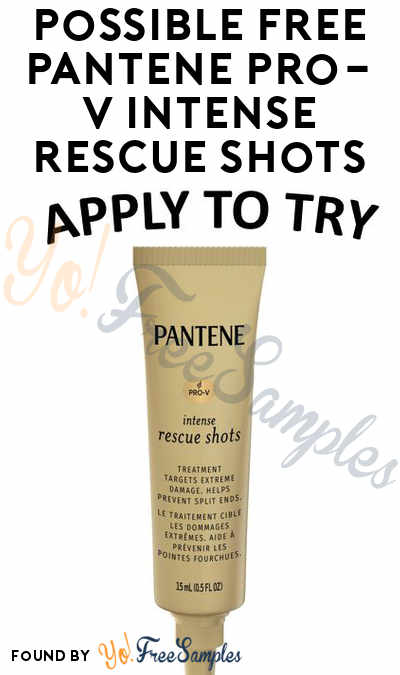 Possible FREE Pantene Pro-V Intense Rescue Shots At Shopper Army (Must Apply)