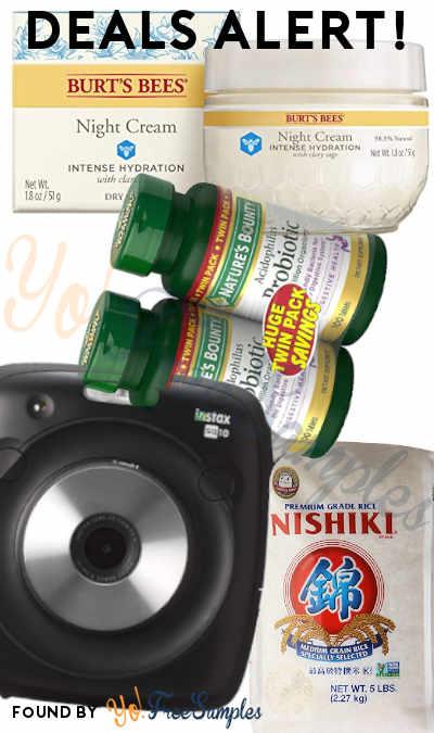 DEALS ALERT: Probiotics 2-Pack, Fujifilm Instax Square, Nishiki Medium Grain Rice 5LB, Burt's Bees Intense Hydration Night Cream & More