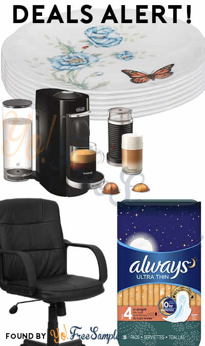 DEALS ALERT: Always Pads, Butterfly Meadow Party Plates, VertuoPlus Deluxe Coffee + Espresso Maker, Black Leather Swivel Task Chair & More