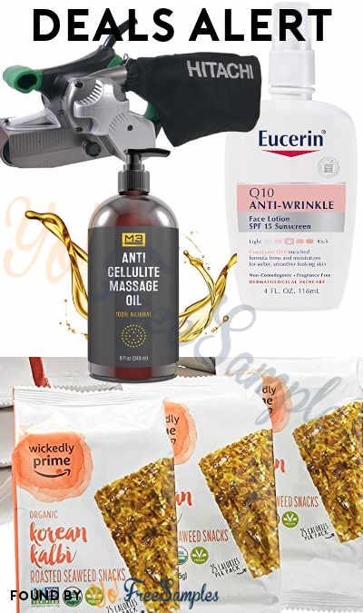 DEALS ALERT: Eucerin Q10 Anti-Wrinkle Sensitive Skin Lotion, Roasted Seaweed Snacks, Anti Cellulite Massage Oil, Hitachi Belt Sander & More