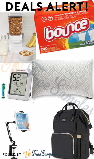 DEALS ALERT: Bounce, Cereal Dispenser, Diaper Bag, Hypoallergenic Pillow, Indoor Thermometer, Phone/Tablet Stand & More