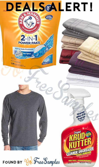 DEALS ALERT: Arm & Hammer 2-IN-1 Laundry Detergent Power Paks, KRUD KUTTER Cleaner/Degreaser, Jerzee's Long Sleeve T-Shirt, Microfiber Pillowcases & More