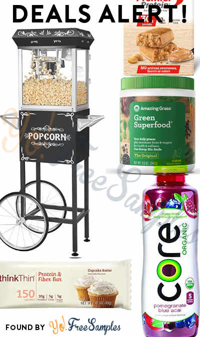 DEALS ALERT: Popcorn Maker Cart, thinkThin Bars, Premier Protein Bars, Amazing Grass, Noise Cancelling Headphones & More