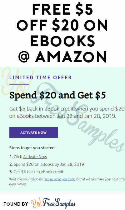 FREE $5 Credit On $20 eBooks Purchase At Amazon