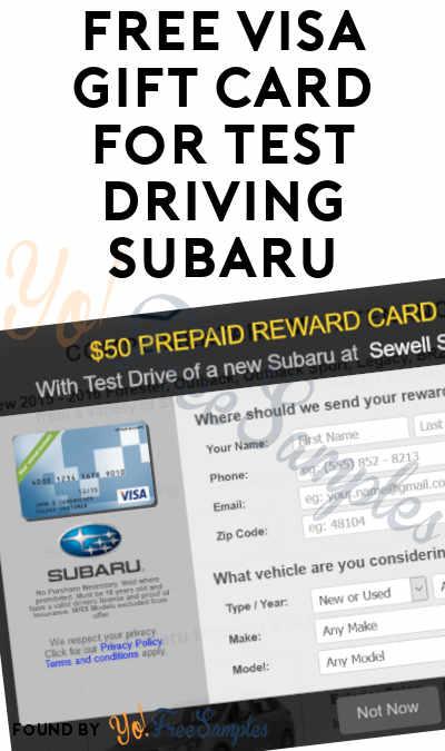 FREE Visa Gift Card For Test Driving Subaru