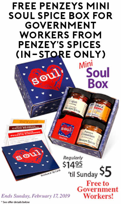 FREE Penzeys Mini Soul Spice Box For Government Workers From Penzey's Spices (In-Store Only)