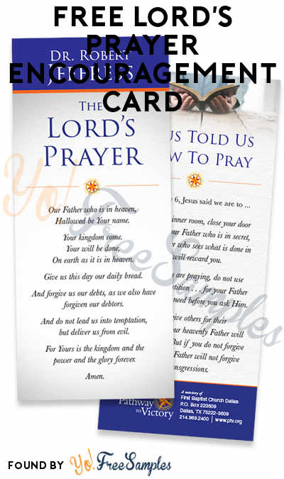 FREE Lord's Prayer Encouragement Card