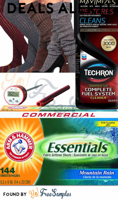 DEALS ALERT: Arm & Hammer Dryer Sheets Case Of 6, Women's Over Knee Socks, Fuel System Cleaner, Commercial Waterproof Digital Cooking Thermometer & More