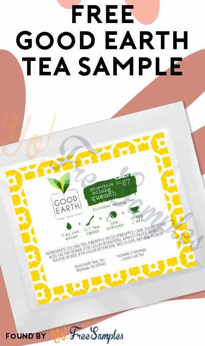 3 FREE Good Earth Tea Samples