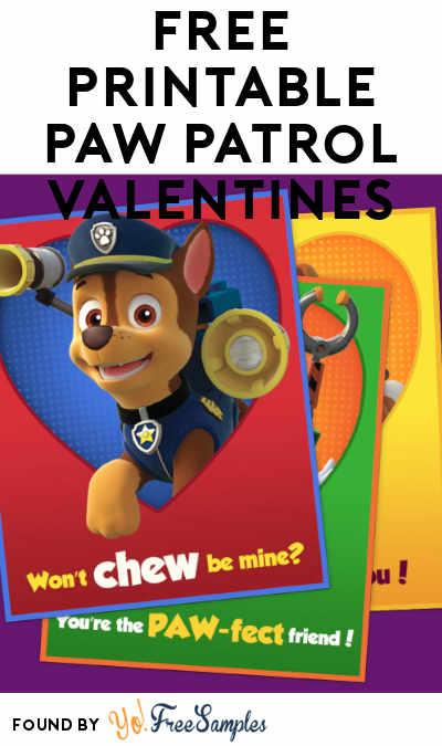 FREE Printable PAW Patrol Valentines