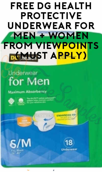 FREE DG Health Protective Underwear For Men + Women From ViewPoints (Must Apply)