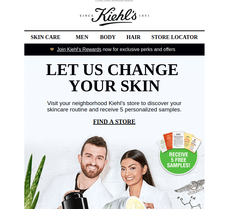 5 FREE Skincare Samples From Kiehl's (In-Store Only) - Yo