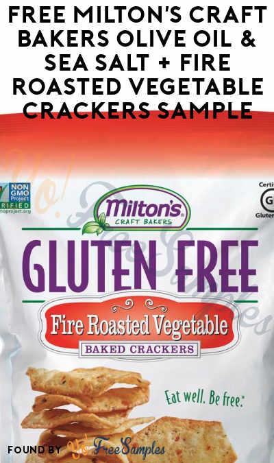 FREE Milton's Craft Bakers Olive Oil & Sea Salt + Fire Roasted Vegetable Crackers Sample