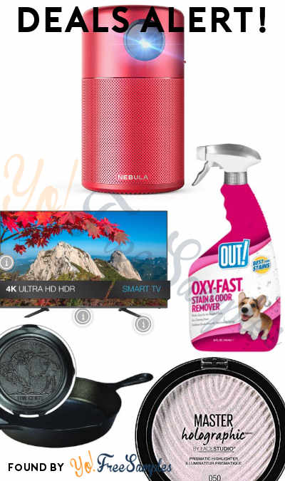 DEALS ALERT: Mini Projector, OUT! Stain & Odor Remover, JVC 65″ 4K TV, Lodge Cast Iron, Maybelline Master Holographic Makeup & More