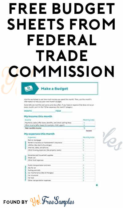 FREE Budget Planning Sheets from The Federal Trade Commission