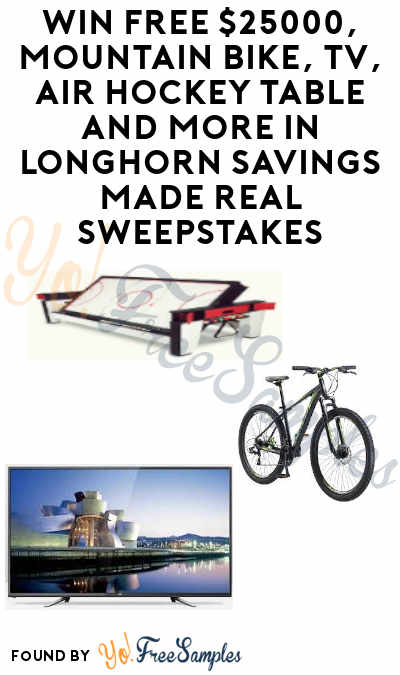 Enter Daily: WIN A FREE $25,000 Cash Check, Sports Gear, Dining Sets & More In Longhorn Savings Made Real Sweepstakes (21+)